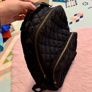 Other - Black quilted back pack with faux leather and gold